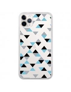 Coque iPhone 11 Pro Triangles Ice Blue Bleu Noir Transparente - Project M