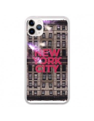 Coque iPhone 11 Pro New York City Buildings Rouge - Javier Martinez