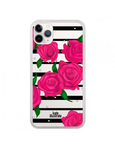Coque iPhone 11 Pro Roses Rose Fleurs Flowers Transparente - kateillustrate