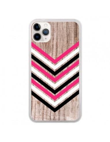 Coque iPhone 11 Pro Tribal Aztèque Bois Wood Flèche Rose Blanc Noir - Laetitia