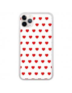 Coque iPhone 11 Pro Coeurs Rouges Fond Blanc - Laetitia