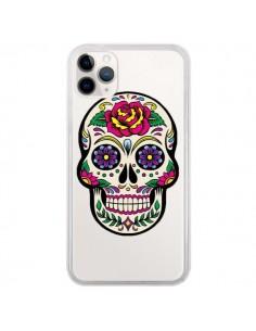 Coque iPhone 11 Pro Tête de Mort Mexicaine Fleurs Transparente - Laetitia