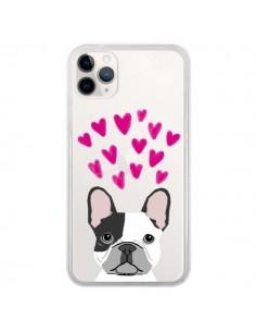 Coque iPhone 11 Pro Bulldog Français Coeurs Chien Transparente - Pet Friendly