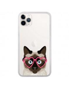 Coque iPhone 11 Pro Chat Marron Lunettes Coeurs Transparente - Pet Friendly