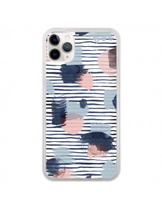Coque iPhone 11 Pro Watercolor Stains Stripes Navy - Ninola Design