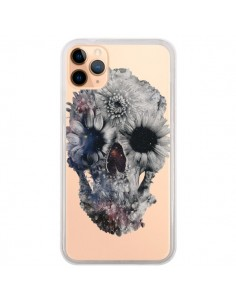Coque iPhone 11 Pro Max Floral Skull Tête de Mort Transparente - Ali Gulec