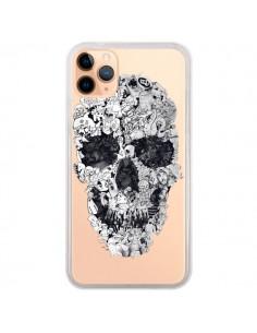 Coque iPhone 11 Pro Max Doodle Skull Dessin Tête de Mort Transparente - Ali Gulec