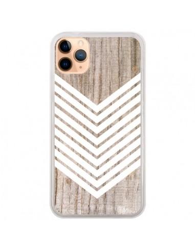 Coque iPhone 11 Pro Max Tribal Aztèque Bois Wood Flèche Blanc - Laetitia