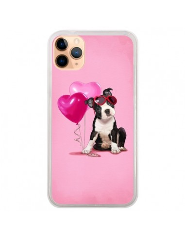 Coque iPhone 11 Pro Max Chien Dog Ballon Lunettes Coeur Rose - Maryline Cazenave