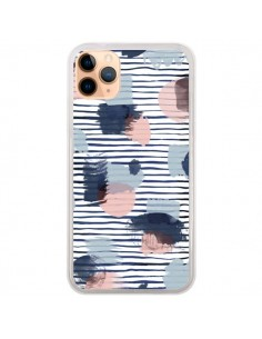 Coque iPhone 11 Pro Max Watercolor Stains Stripes Navy - Ninola Design