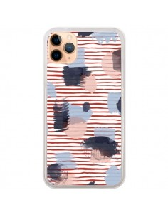 Coque iPhone 11 Pro Max Watercolor Stains Stripes Red - Ninola Design