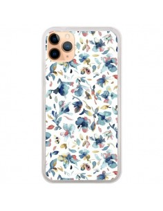 Coque iPhone 11 Pro Max Watery Hibiscus Blue - Ninola Design