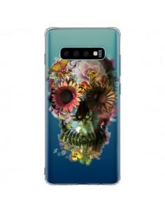 Coque Samsung S10 Plus Skull Flower Tête de Mort Transparente - Ali Gulec