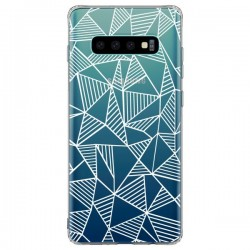 Coque Samsung S10 Plus Lignes Grilles Triangles Grid Abstract Blanc Transparente - Project M