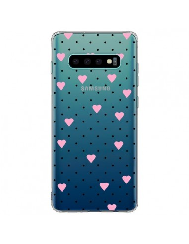 Coque Samsung S10 Plus Point Coeur Rose Pin Point Heart Transparente - Project M