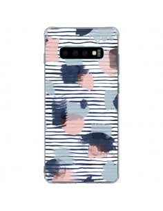 Coque Samsung S10 Plus Watercolor Stains Stripes Navy - Ninola Design
