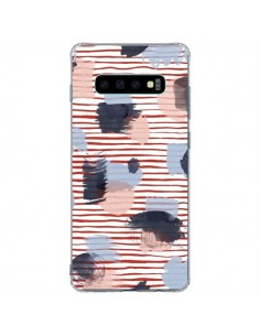 Coque Samsung S10 Plus Watercolor Stains Stripes Red - Ninola Design