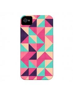 Coque Azteque Triangle Rose Vert pour iPhone 4 et 4S - Eleaxart
