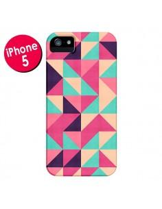 Coque Azteque Triangle Rose Vert pour iPhone 5 et 5S - Eleaxart
