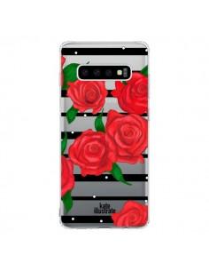 Coque Samsung S10 Red Roses Rouge Fleurs Flowers Transparente - kateillustrate