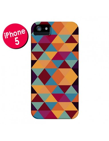 Coque Azteque Triangle Orange pour iPhone 5 et 5S - Eleaxart