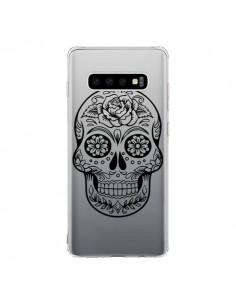Coque Samsung S10 Tête de Mort Mexicaine Noir Transparente - Laetitia