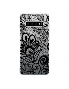 Coque Samsung S10 Lace Fleur Flower Noir Transparente - Petit Griffin