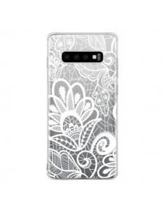 Coque Samsung S10 Lace Fleur Flower Blanc Transparente - Petit Griffin