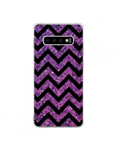 Coque Samsung S10 Chevron Purple Sparkle Triangle Azteque - Mary Nesrala