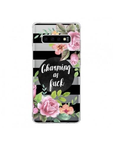 Coque Samsung S10 Charming as Fuck Fleurs Transparente - Maryline Cazenave