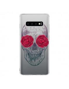 Coque Samsung S10 Tête de Mort Rose Fleurs Transparente - Rachel Caldwell