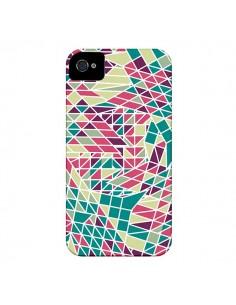 Coque Azteque Triangles Vert Violet pour iPhone 4 et 4S - Eleaxart