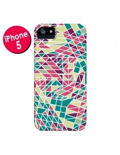 Coque Azteque Triangles Vert Violet pour iPhone 5 et 5S - Eleaxart