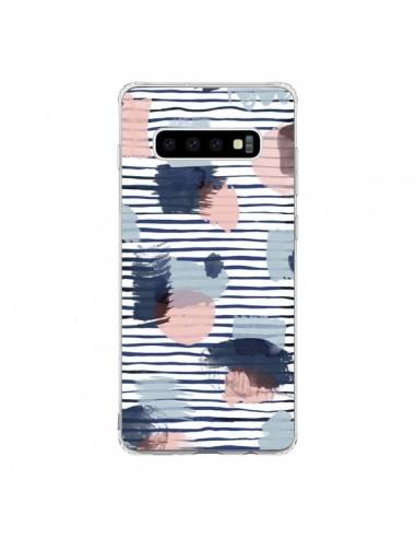 Coque Samsung S10 Watercolor Stains Stripes Navy - Ninola Design