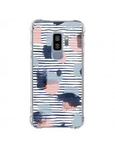 Coque Samsung S9 Plus Watercolor Stains Stripes Navy - Ninola Design