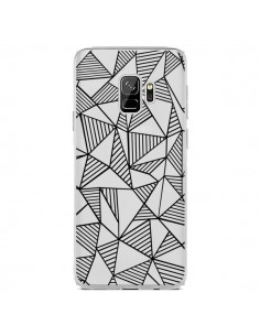 Coque Samsung S9 Lignes Grilles Triangles Grid Abstract Noir Transparente - Project M