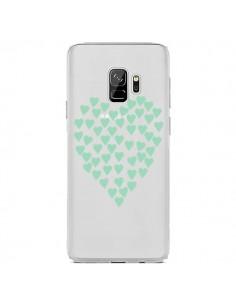 Coque Samsung S9 Coeurs Heart Love Mint Bleu Vert Transparente - Project M