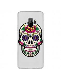 Coque Samsung S9 Tête de Mort Mexicaine Fleurs Transparente - Laetitia