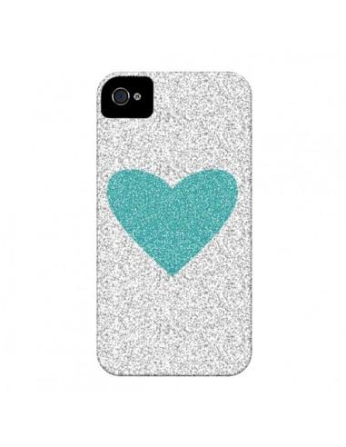 Coque Coeur Bleu Vert Argent Love pour iPhone 4 et 4S - Mary Nesrala