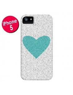 Coque Coeur Bleu Vert Argent Love pour iPhone 5 et 5S - Mary Nesrala