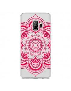 Coque Samsung S9 Mandala Rose Fushia Azteque Transparente - Nico
