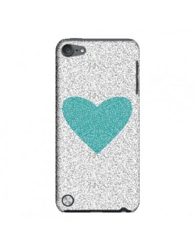 Coque Coeur Bleu Vert Argent Love pour iPod Touch 5 - Mary Nesrala
