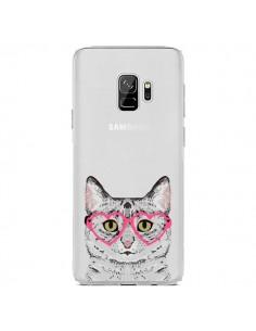 Coque Samsung S9 Chat Gris Lunettes Coeurs Transparente - Pet Friendly