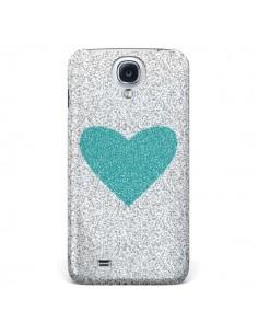 Coque Coeur Bleu Vert Argent Love pour Galaxy S4 - Mary Nesrala