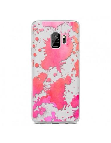 Coque Samsung S9 Watercolor Splash Taches Rose Orange Transparente - Sylvia Cook