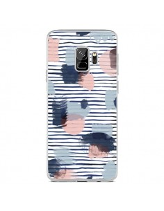 Coque Samsung S9 Watercolor Stains Stripes Navy - Ninola Design