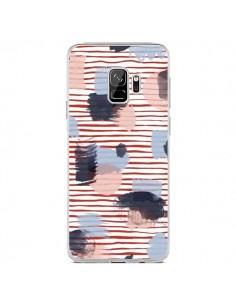 Coque Samsung S9 Watercolor Stains Stripes Red - Ninola Design