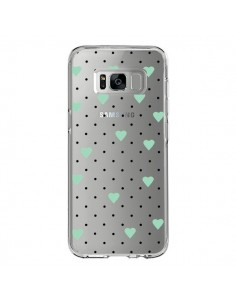 Coque Samsung S8 Point Coeur Mint Bleu Vert Pin Point Heart Transparente - Project M