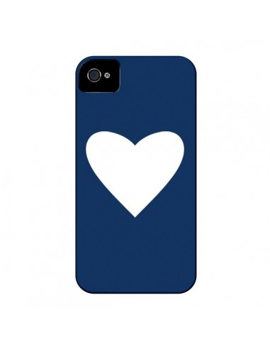 Coque Coeur Navy Blue Heart pour iPhone 4 et 4S - Mary Nesrala