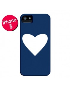 Coque Coeur Navy Blue Heart pour iPhone 5 et 5S - Mary Nesrala